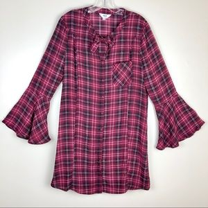 Jack BB Dakota Plaid Bell Sleeve Dress Size Large